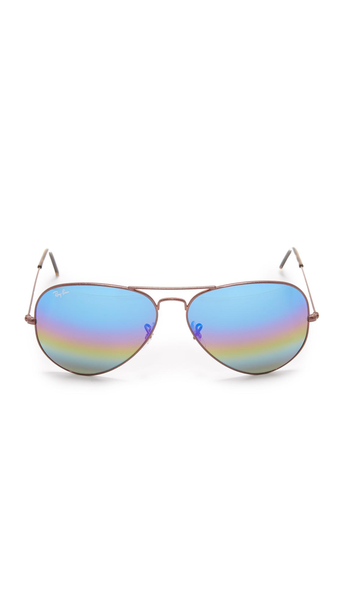 e8ecb5d118 ... get ray ban blue rainbow mirrored aviator sunglasses lyst. view  fullscreen d2aed 7c802