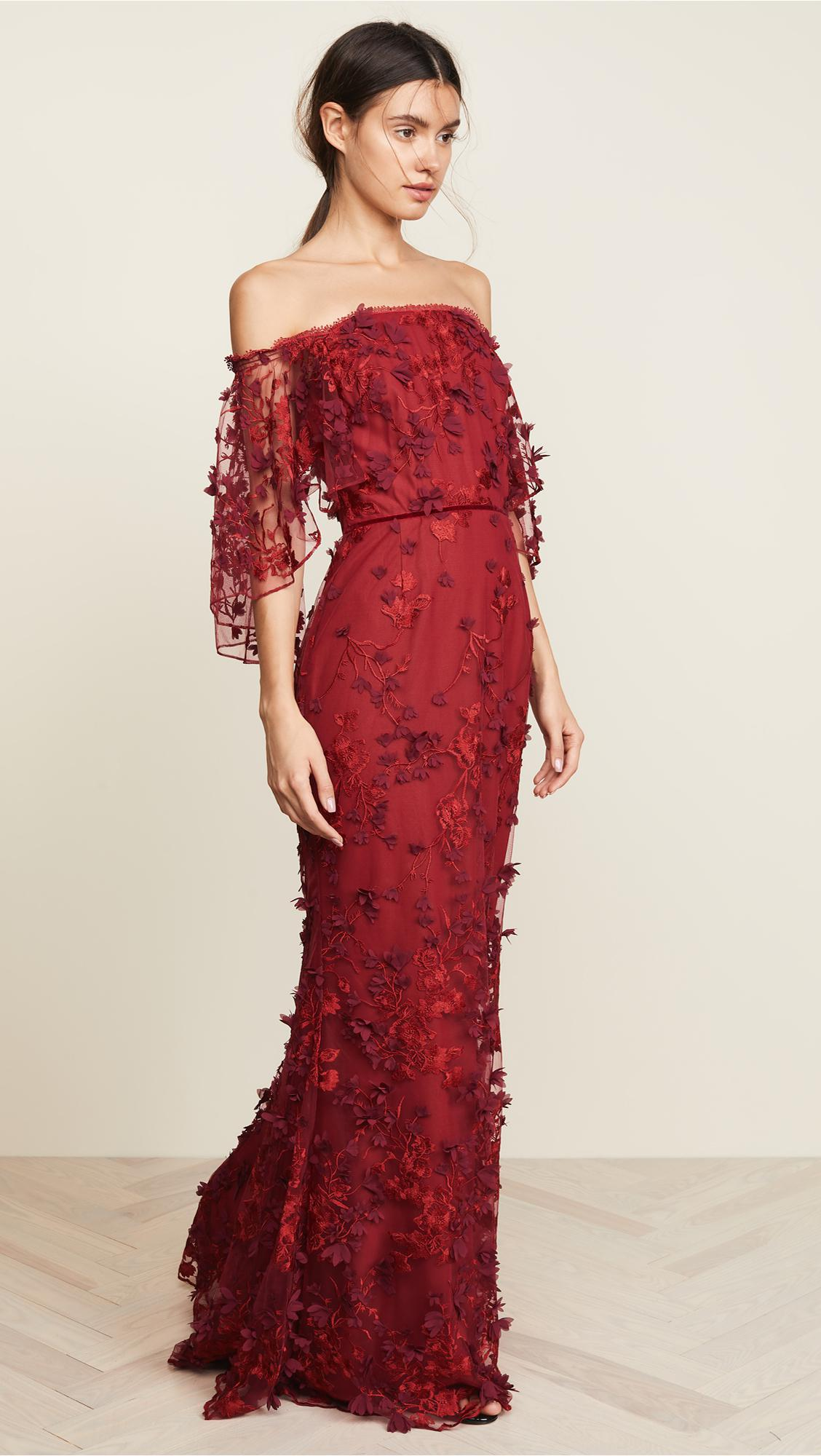 7defeb3aa7 Marchesa notte Off-the-shoulder Embroidered Appliquéd Tulle Gown in Red -  Save 70% - Lyst