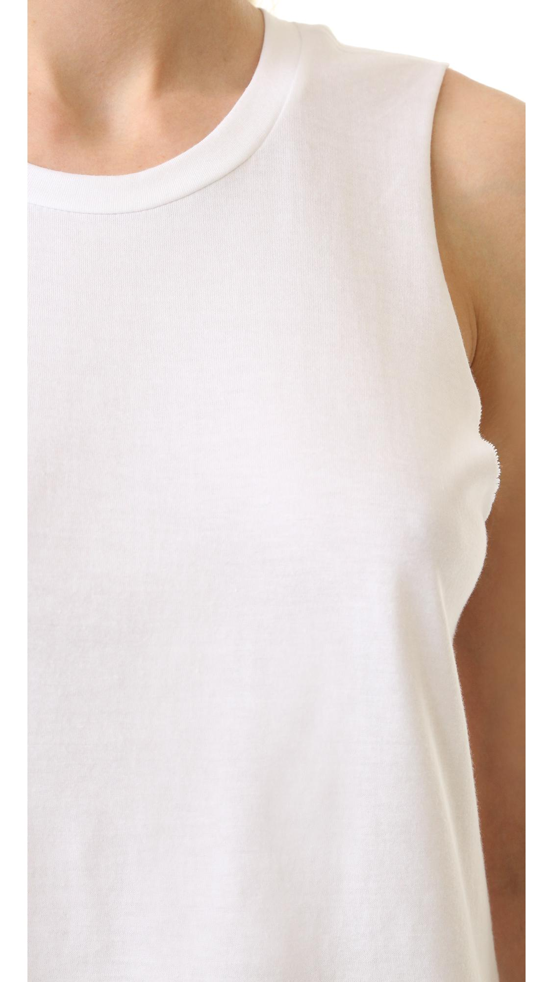 3x1 Cotton Muscle Tank in White