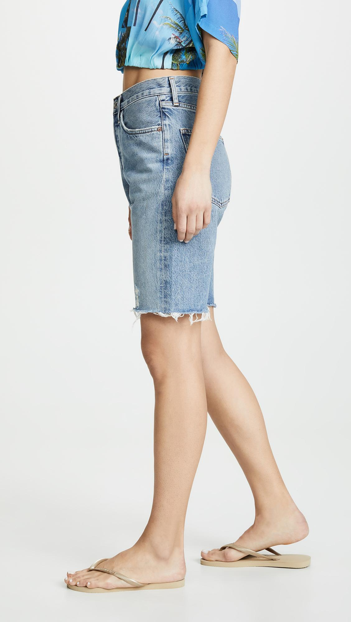 c3829ec5a8 Agolde Mid Rise 90's Loose Shorts in Blue - Lyst