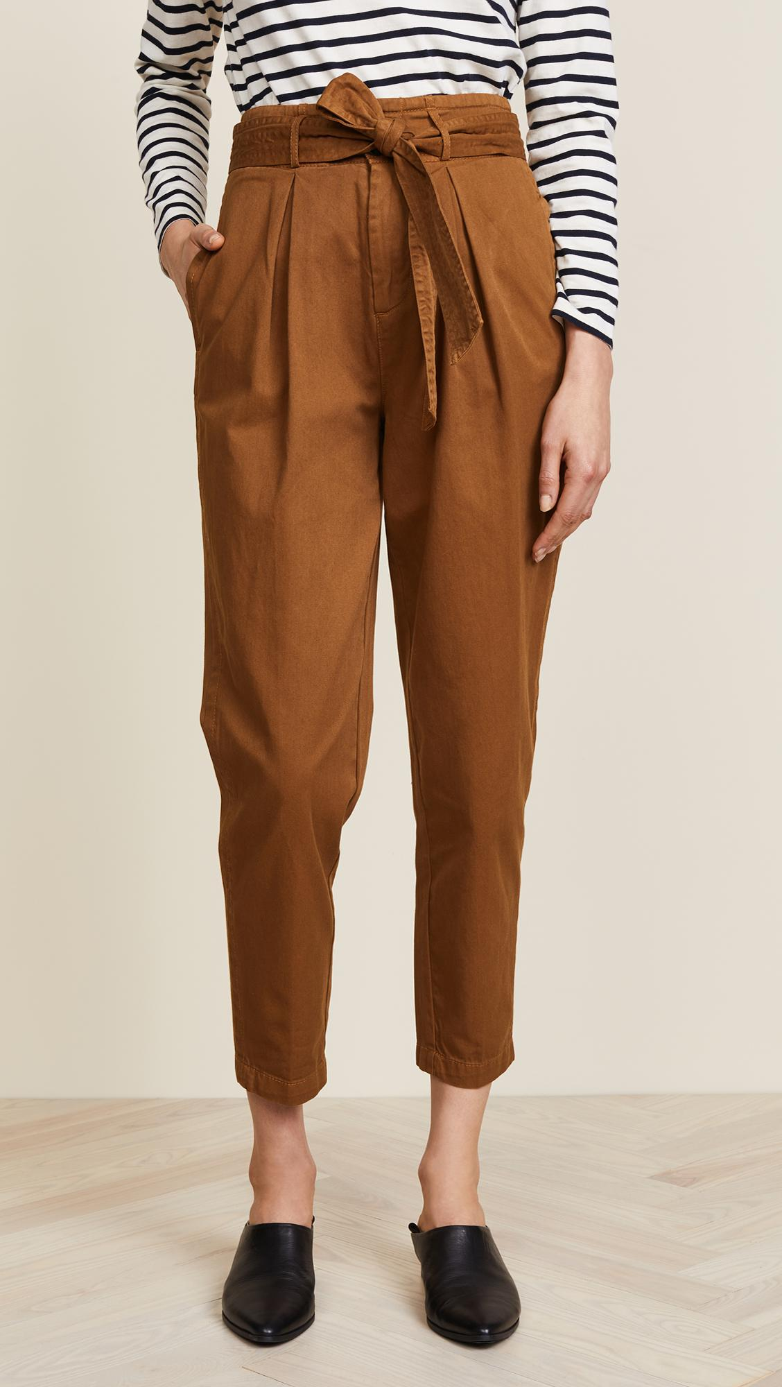 free people cotton high waist pegged '90s pants in brown