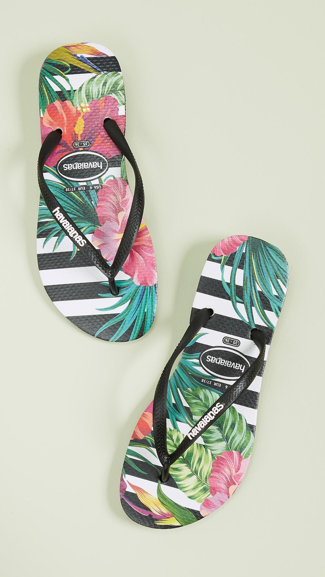 283fdbdfbb75 Havaianas - Black Slim Tropical Floral Flip Flops - Lyst. View fullscreen