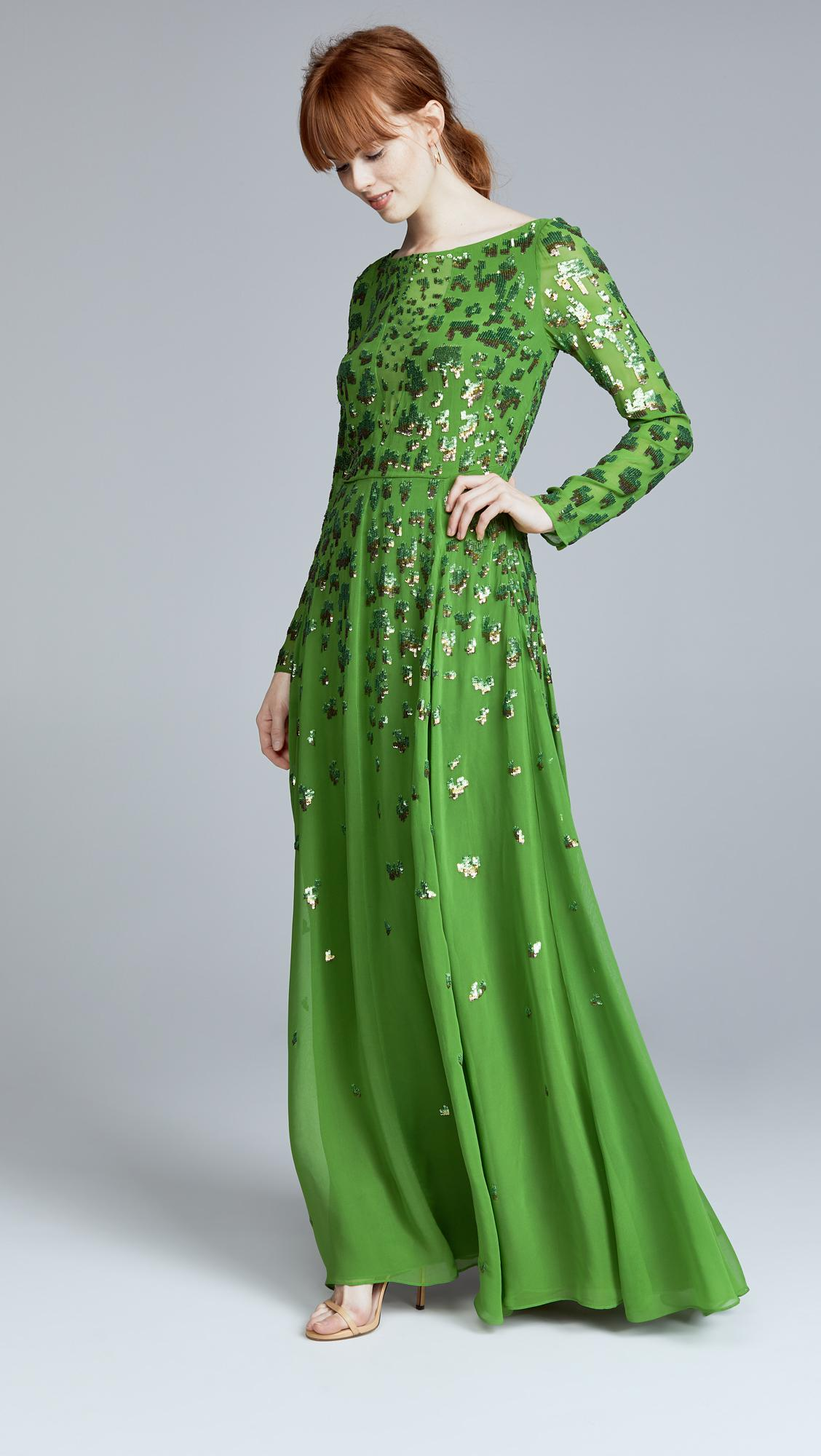 Lyst Temperley London Celestial Long Dress In Green