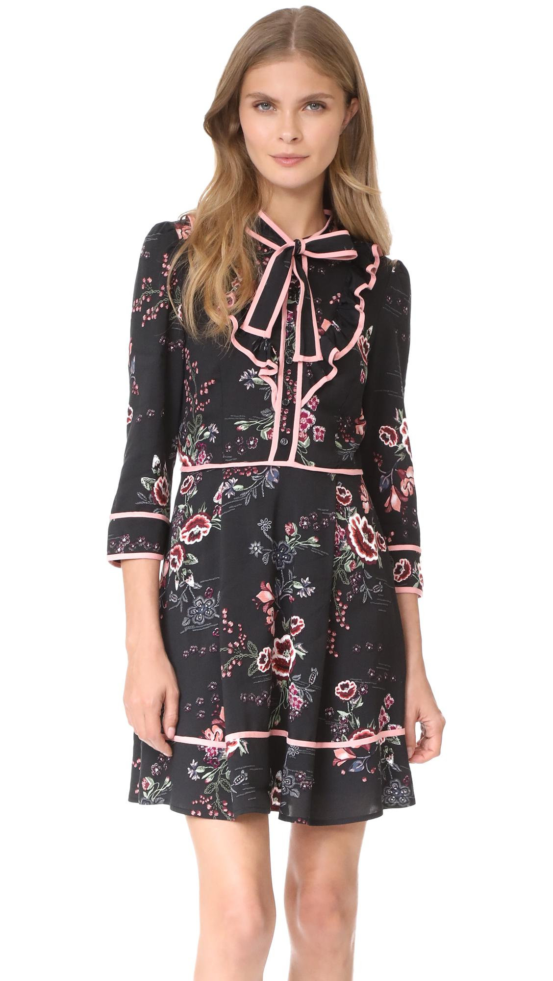 Lyst Re Named Floral Tie Neck Dress In Black