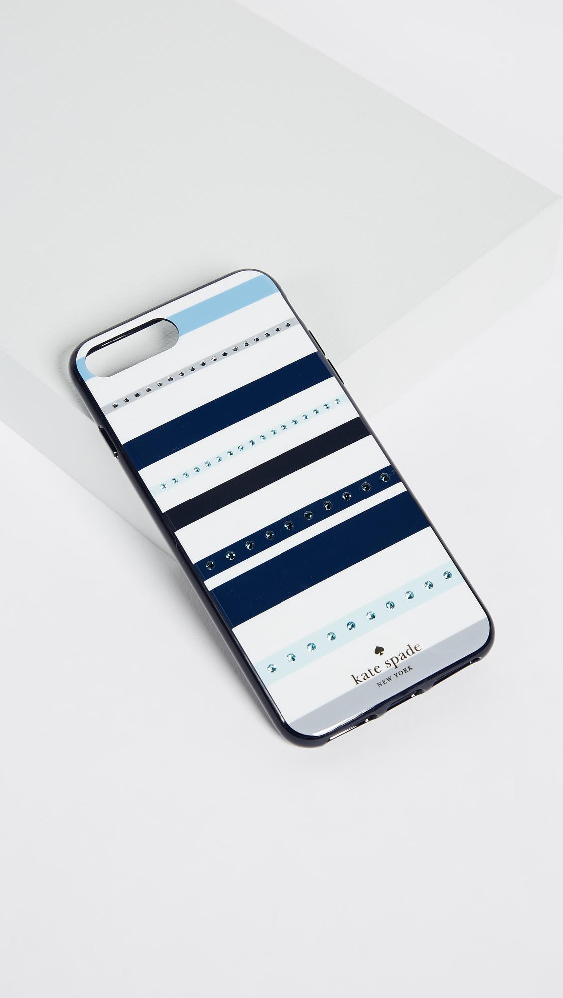 promo code 07596 74892 Kate Spade Blue Jeweled Stripe Iphone 7 Plus / 8 Plus Case