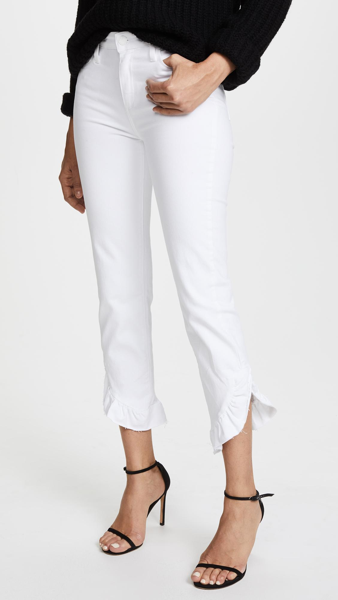 a6a69280f31 Lyst - PAIGE Transcend Hoxton Straight Ruffle Jeans in White