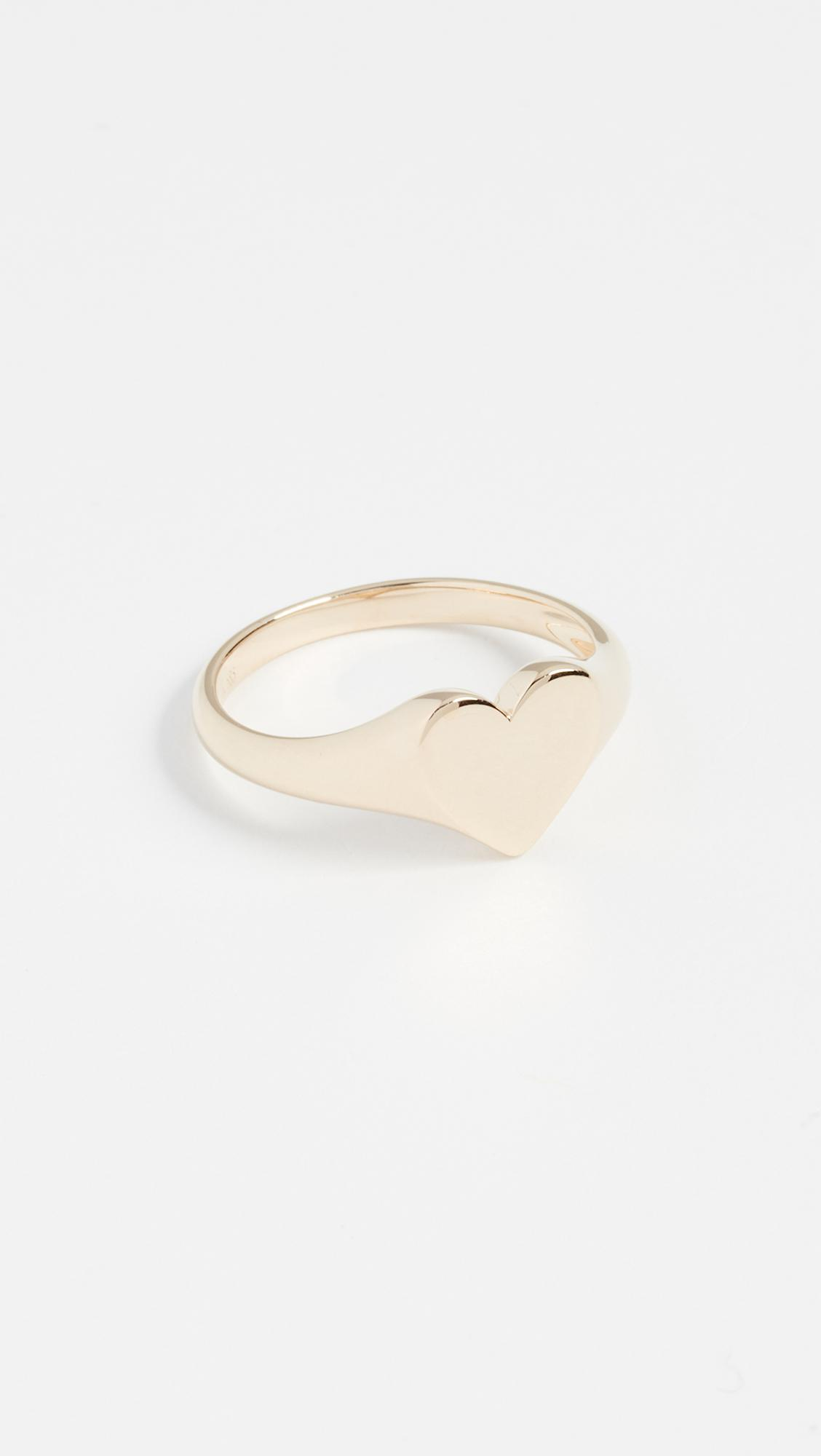 EF Collection 14K Gold Heart Signet Ring 7slXg5cqFG