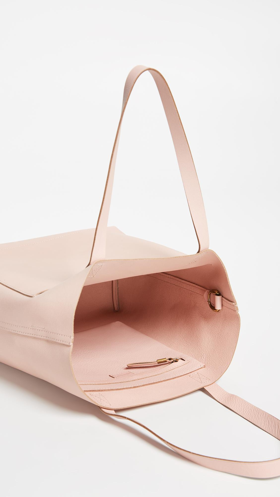 Madewell Leather Medium Transport Tote in Pink
