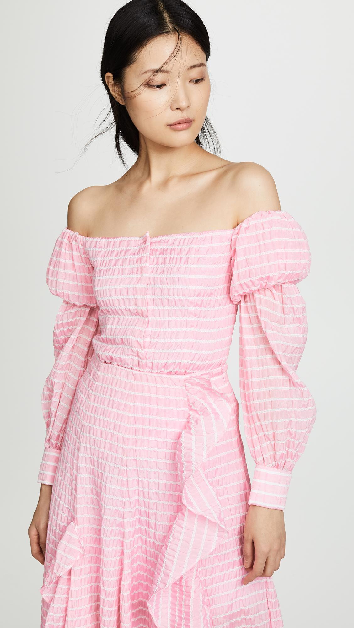0835f17695ad Lyst - Jourden Striped Lolita Off Shoulder Top in Pink