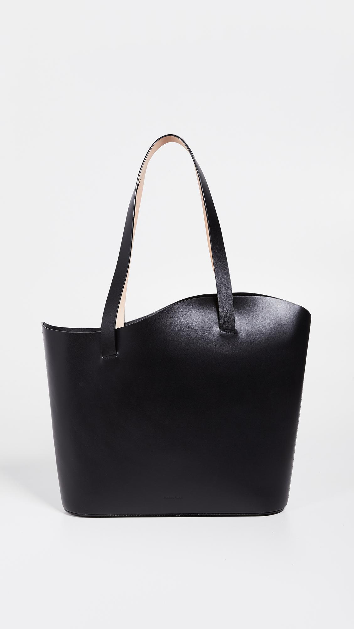 Building Block Leather Large Wave Tote Bag in Black
