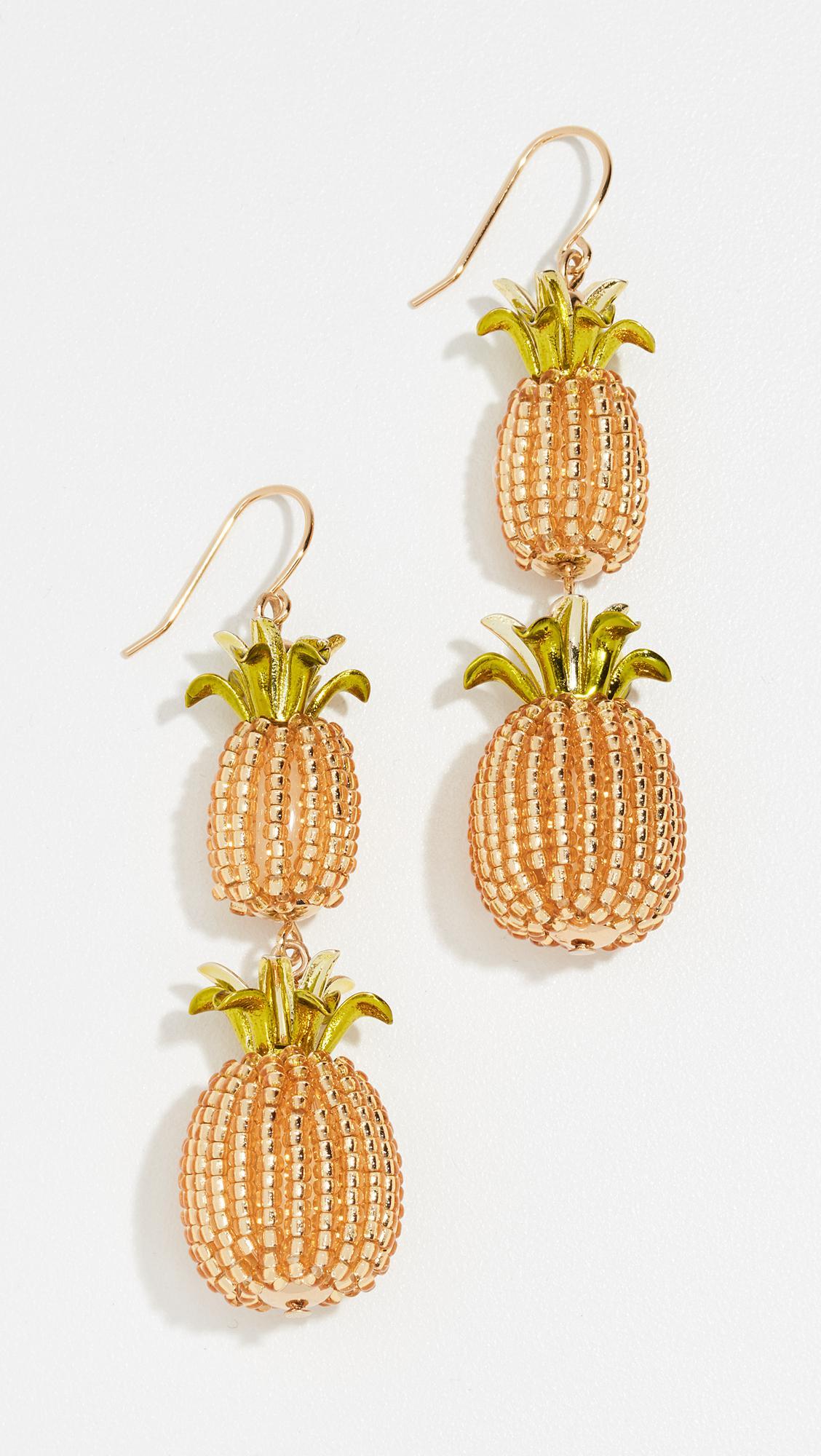 Kate Spade New York By The Pool Pineapple Double Drop Earrings 5WSbS6E4B