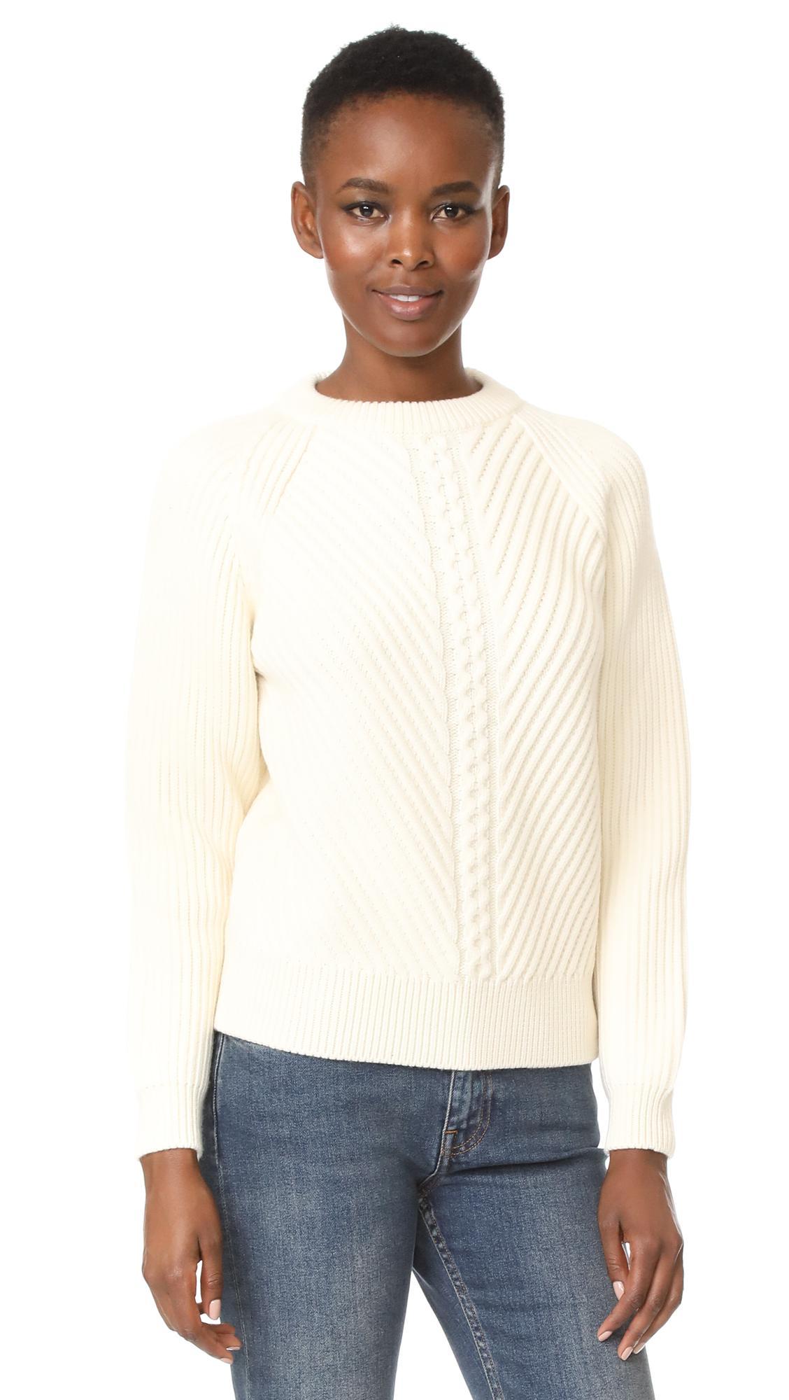 2c1bfcf395 Lyst - Belstaff Shandi Clean Merino Wool Cable Sweater in White
