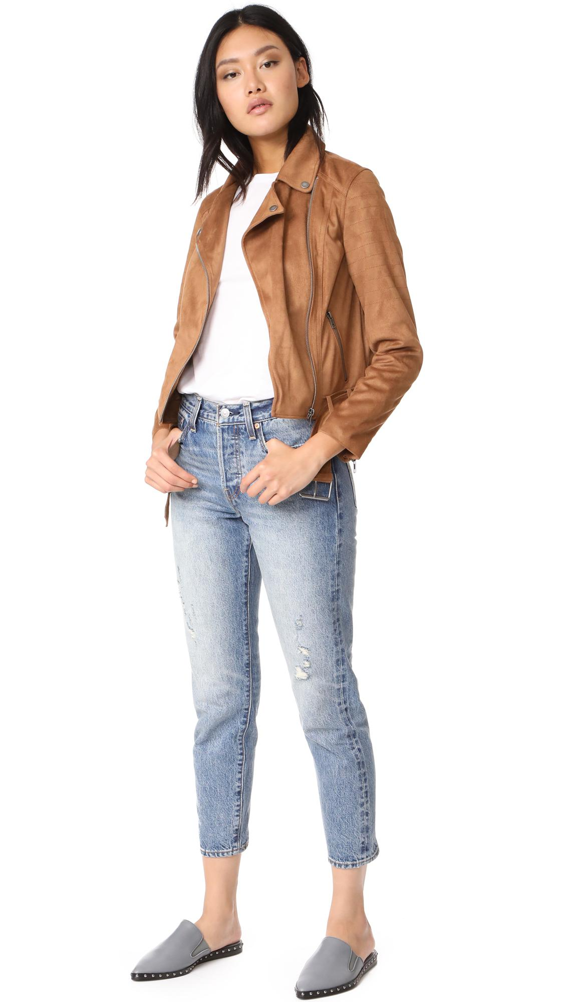 Cupcakes And Cashmere Dixie Faux Suede Moto Jacket Lyst