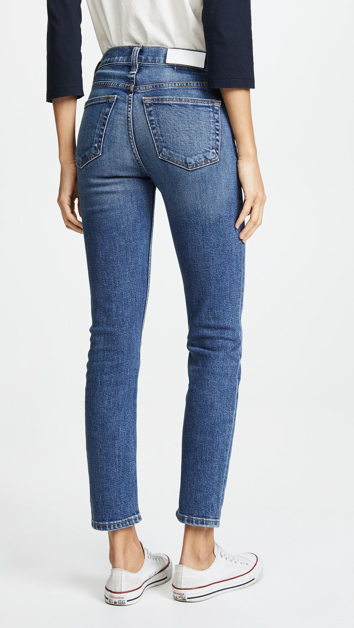 RE/DONE Denim High Rise Ankle Crop Jeans in Mid '70s (Blue)