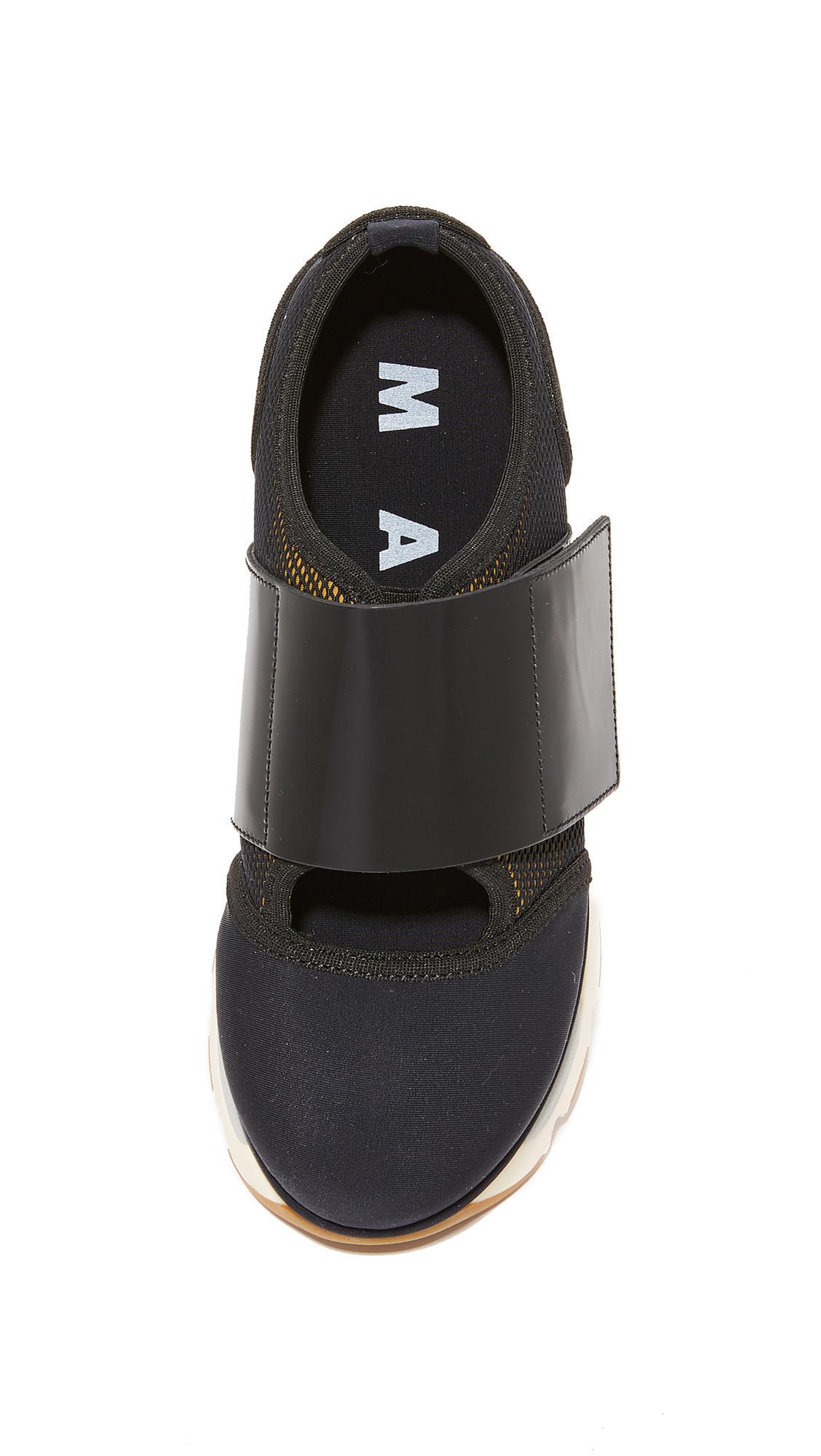 Marni Leather Platform Sneakers in Black/Black (Black)