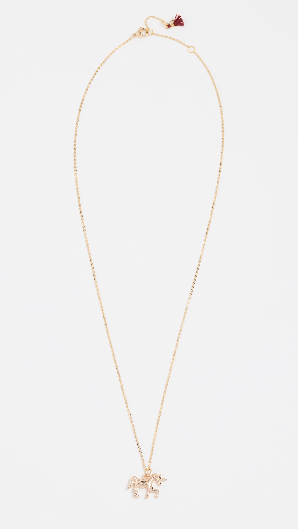 Shashi Unicorn Necklace in Yellow Gold (Metallic)