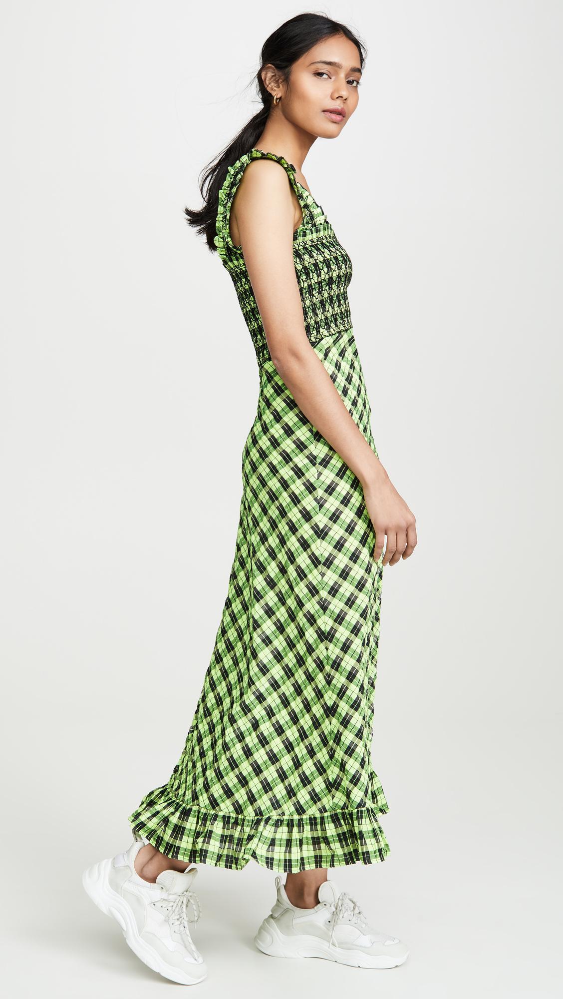 Ganni Checked Seersucker Midi Dress In Black Green Green Lyst