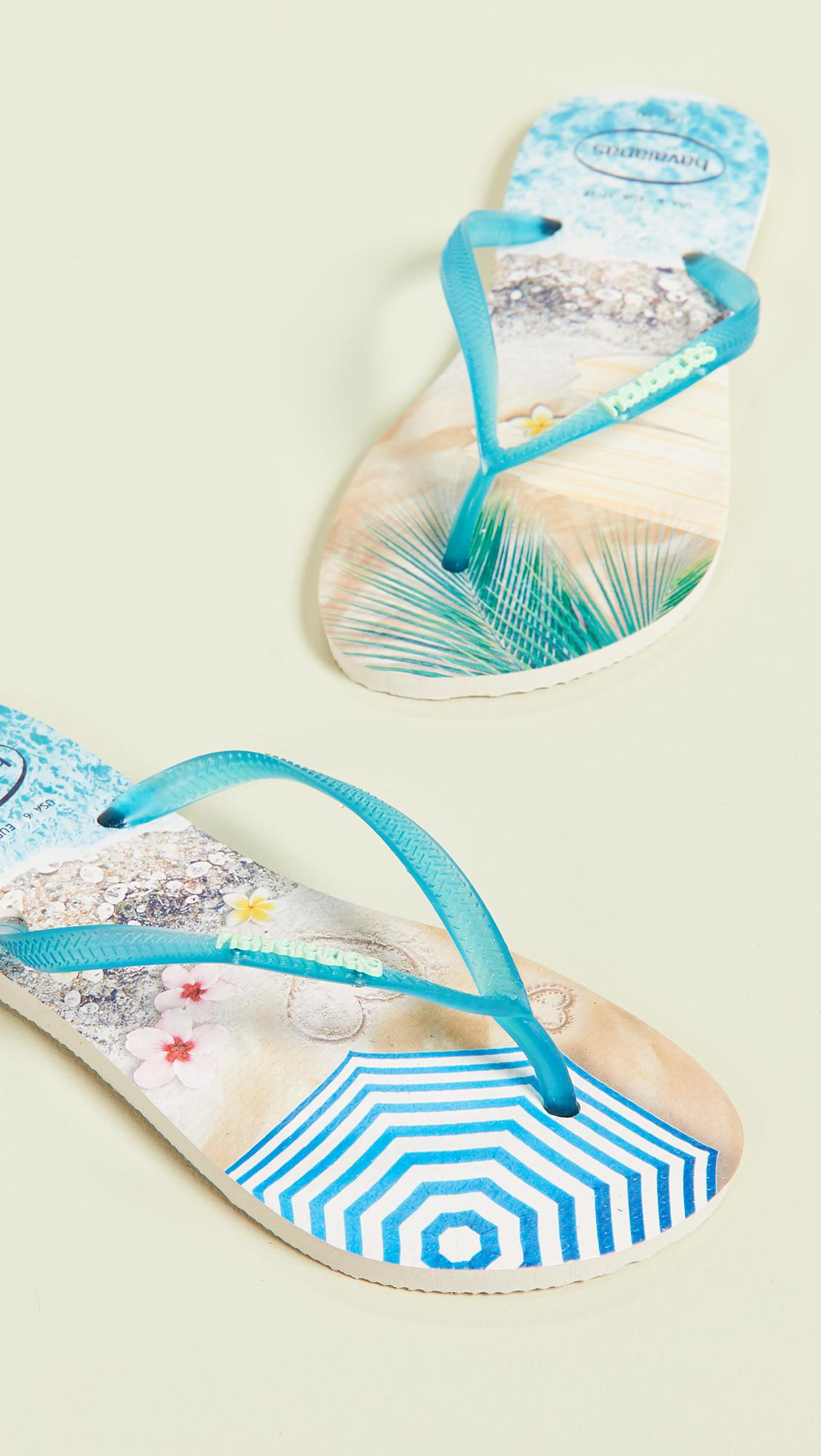 5caf209d249ebd Havaianas Slim Paisage Flip Flops in Blue - Lyst