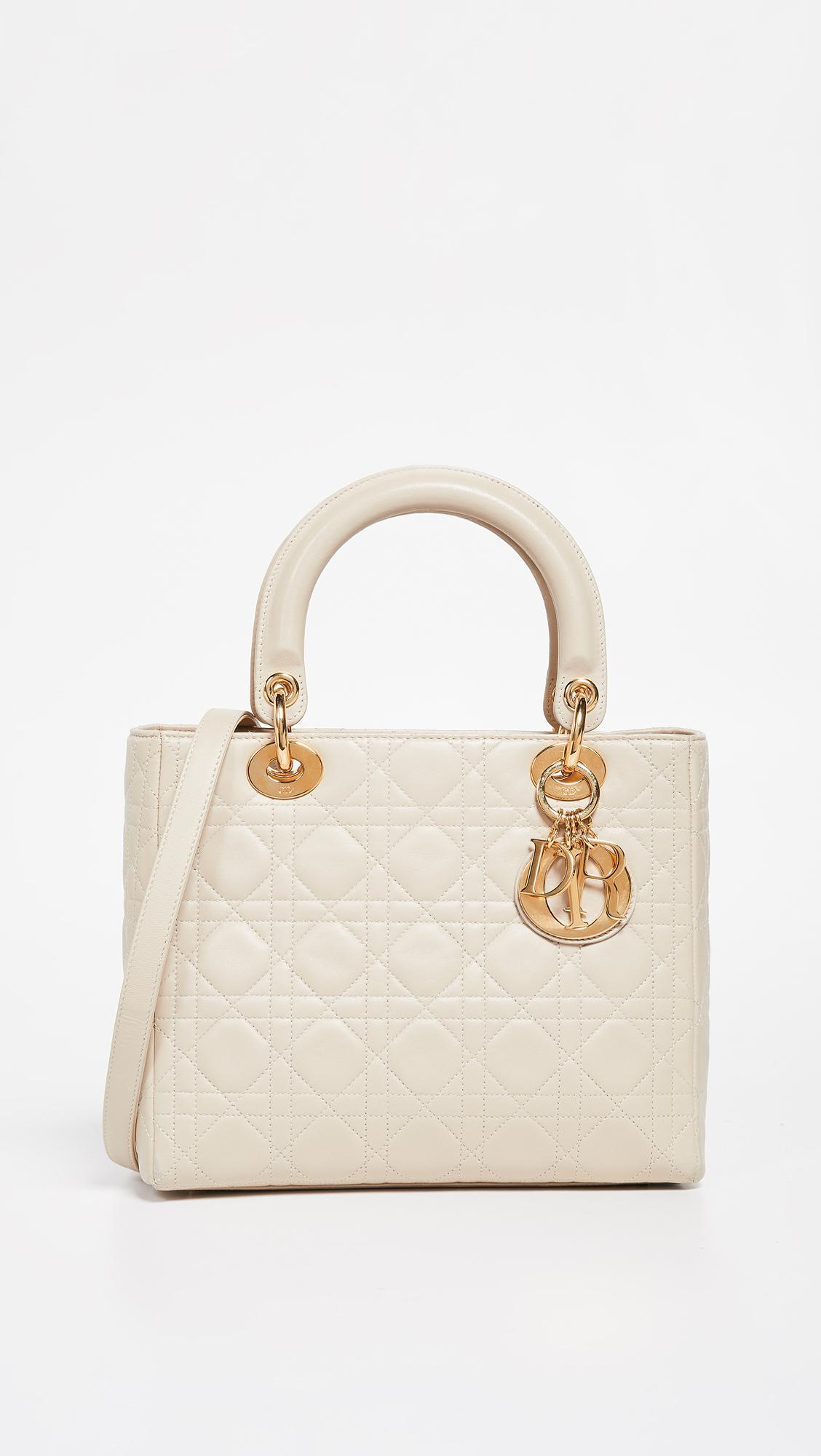 What Goes Around Comes Around Dior Medium Lady Dior Bag in Natural ... 80a25377fe425