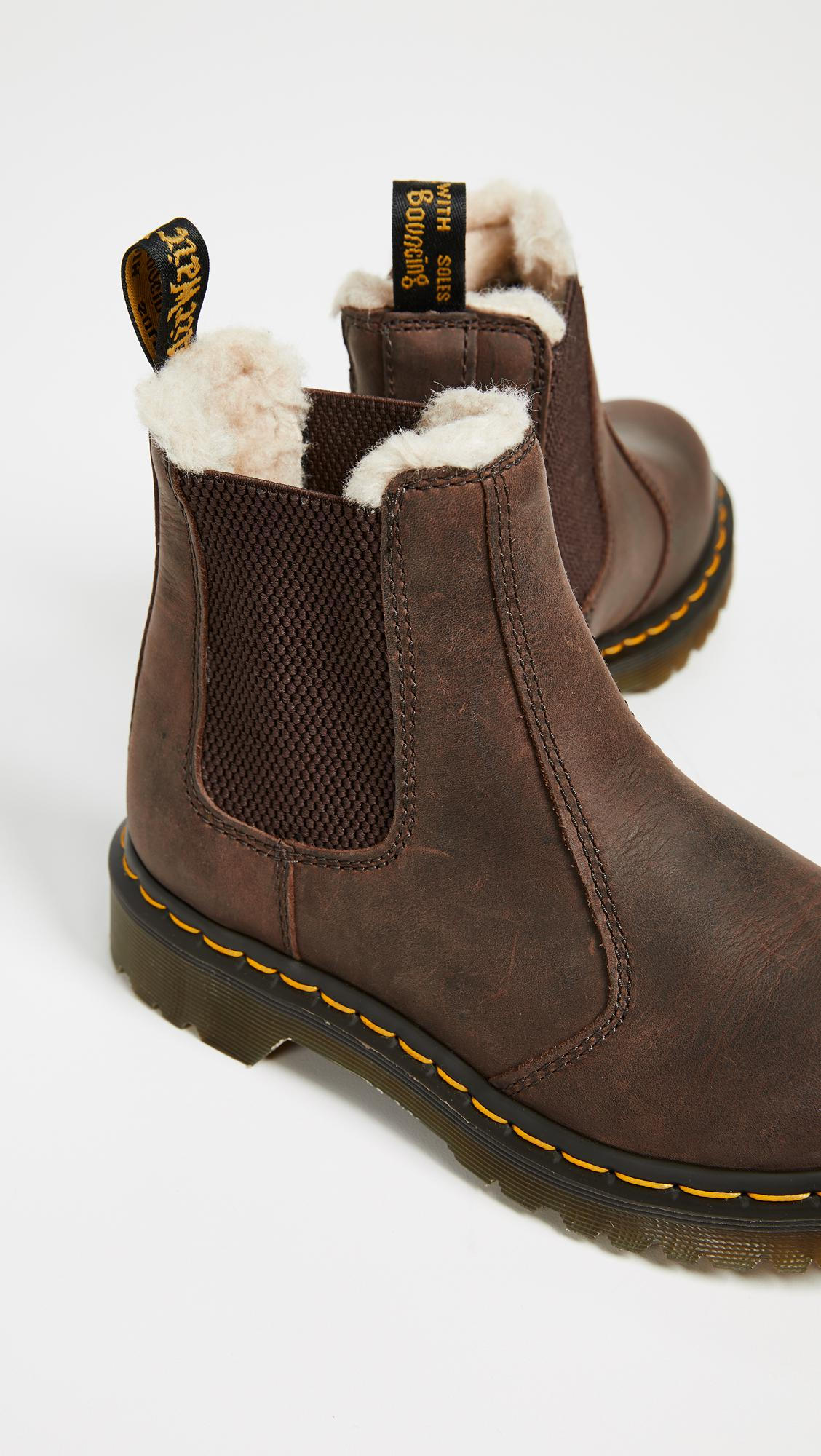 Dr. Martens Leonore Sherpa Chelsea Boots in Dark Brown ...