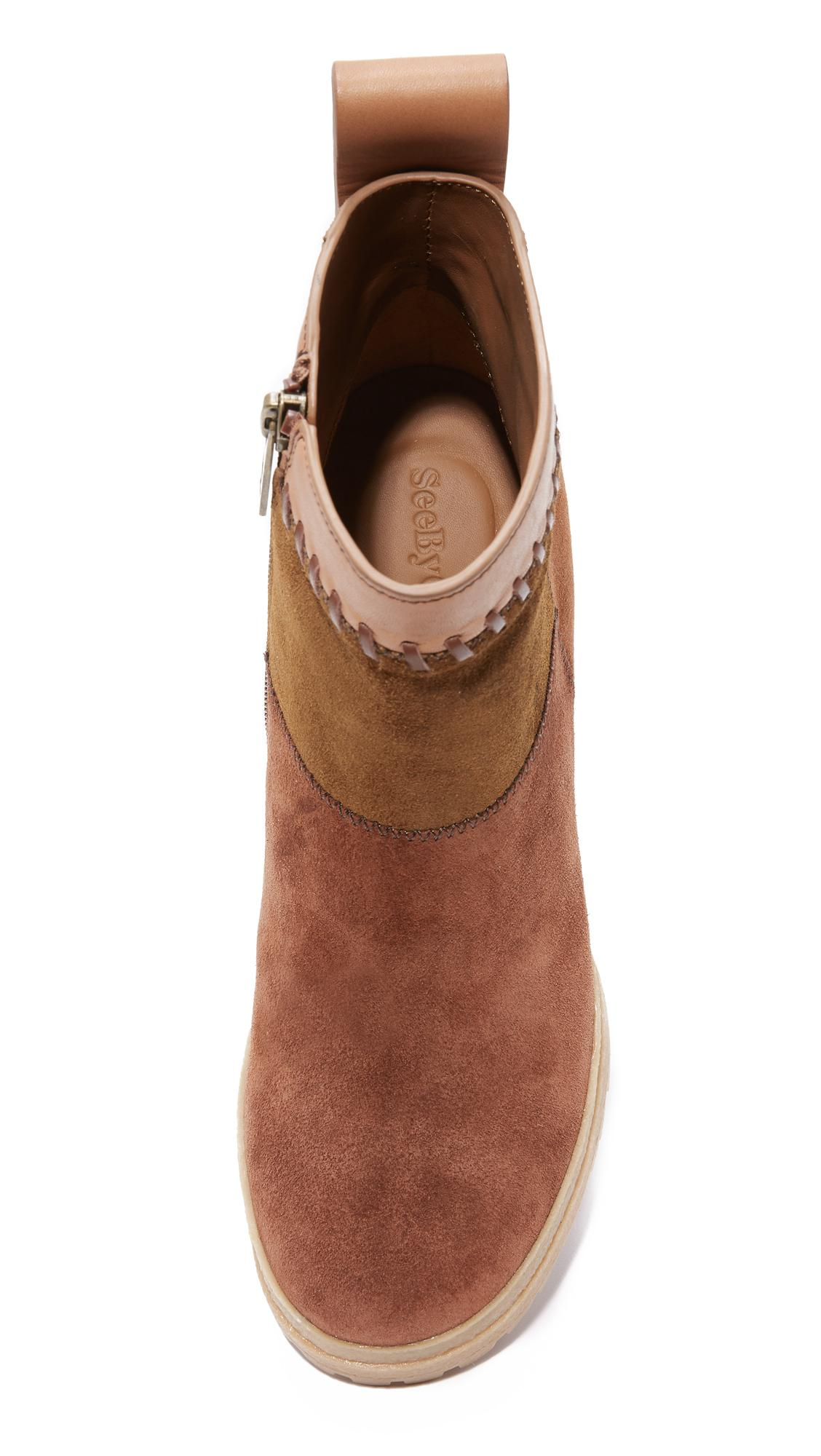 See By Chloé Suede Polina Patchwork Booties in Natural