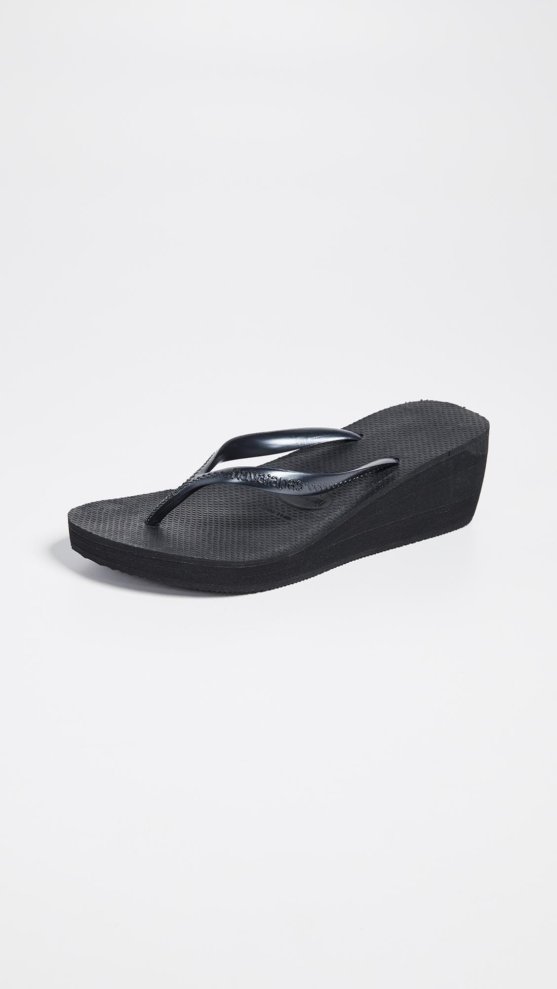 Havaianas High Fashion Wedge Flip Flops In Metallic Lyst