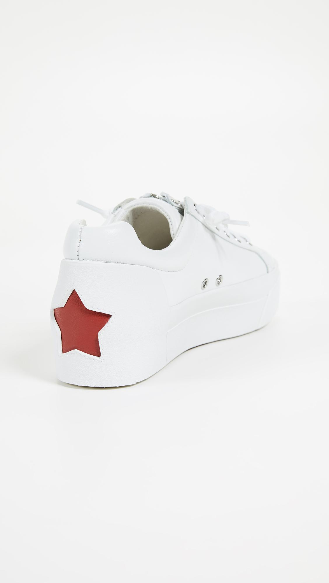 Ash Leather Buzz Platform Sneakers in White
