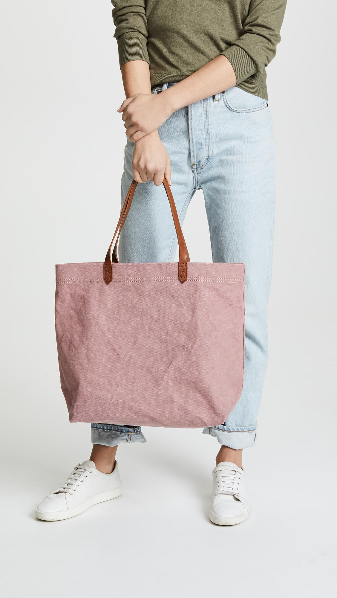 Lyst - Madewell Canvas Transport Tote in Pink 816e393e5e6a5