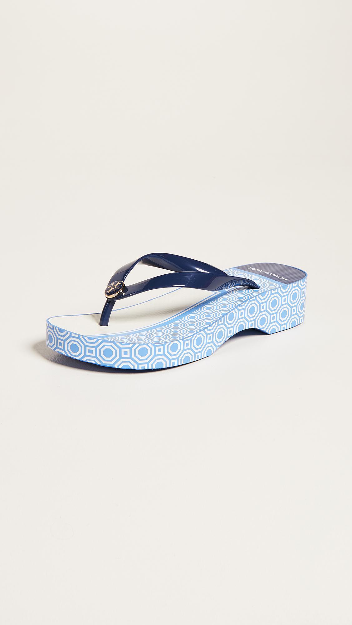 e29a778ff Lyst - Tory Burch Cutout Wedge Flip Flops in Blue