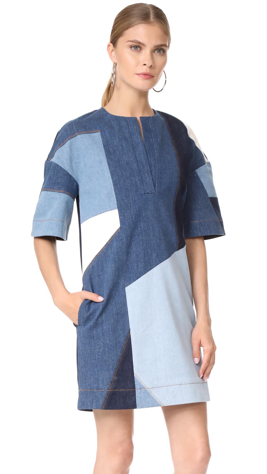 Lyst Victoria Victoria Beckham Patchwork Dress In Blue