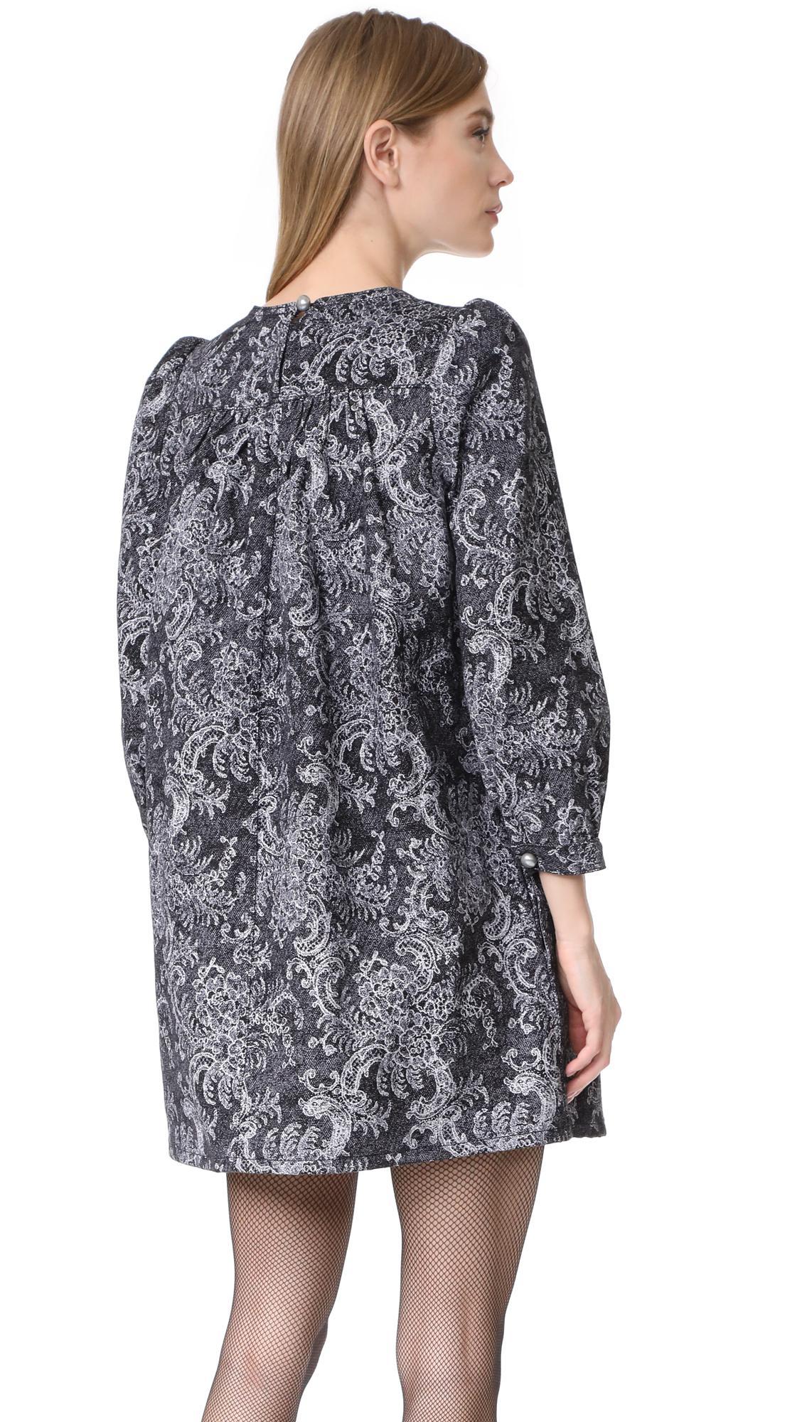 93203e12996c Marc Jacobs Long Sleeve Babydoll Dress in Black - Lyst