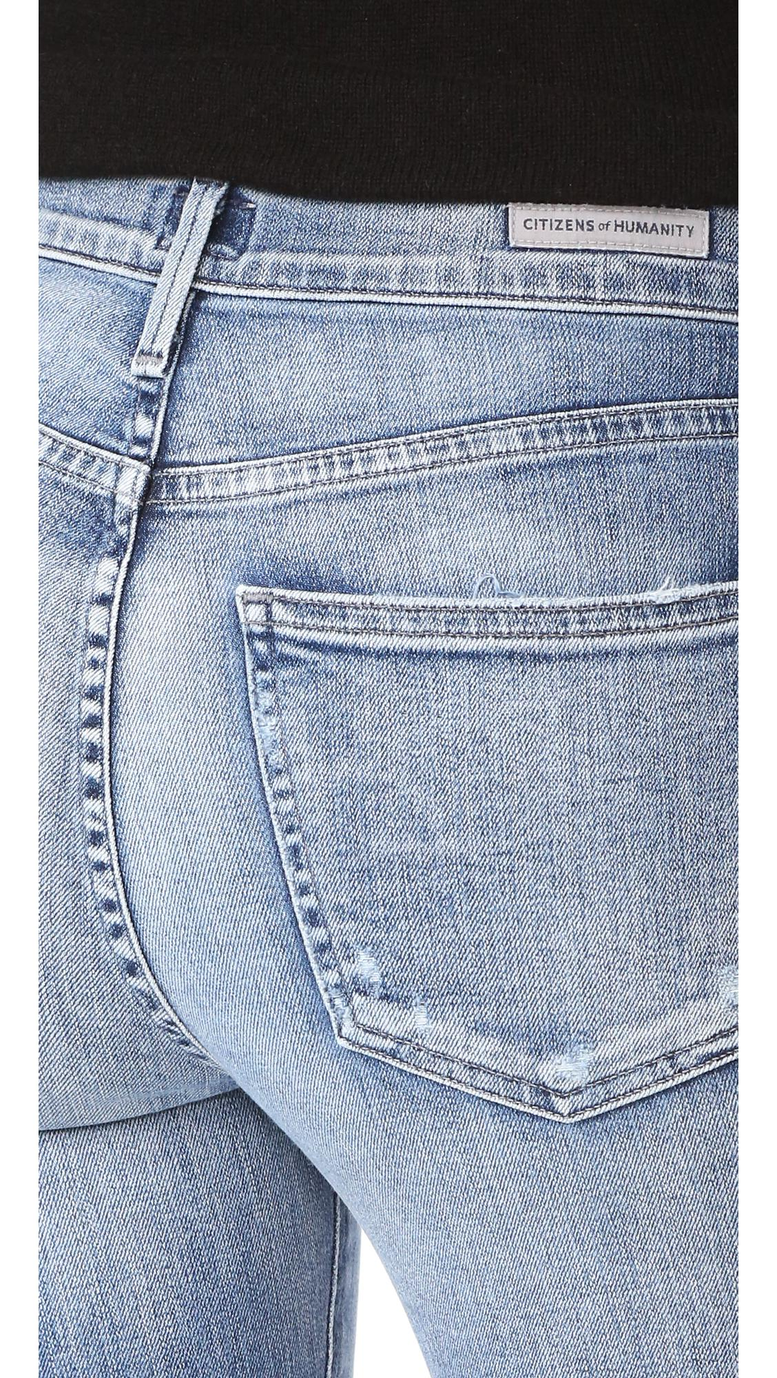 Citizens of Humanity Denim Crop Rocket High Rise Jeans in Blue