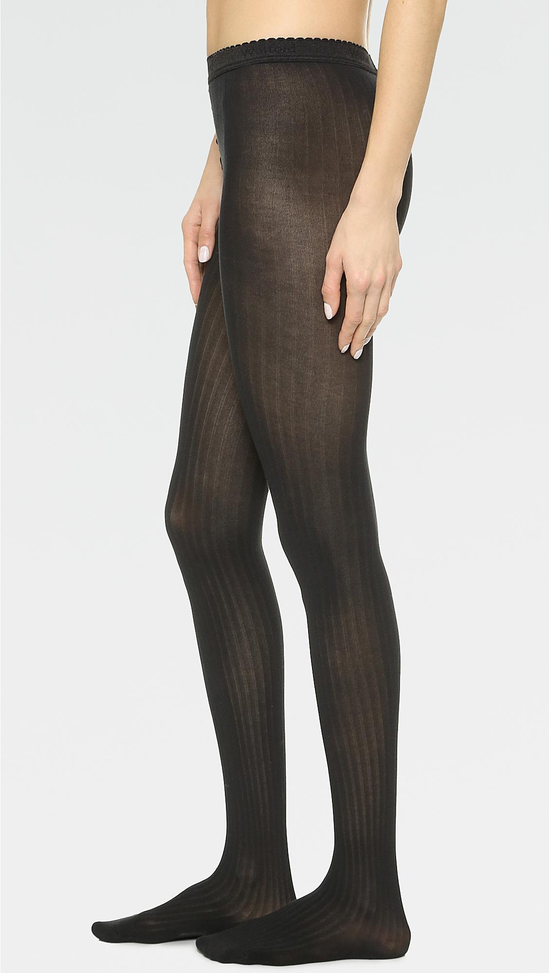 b6cf4076e58 Wolford Fine Cotton Rib Tights in Black - Lyst