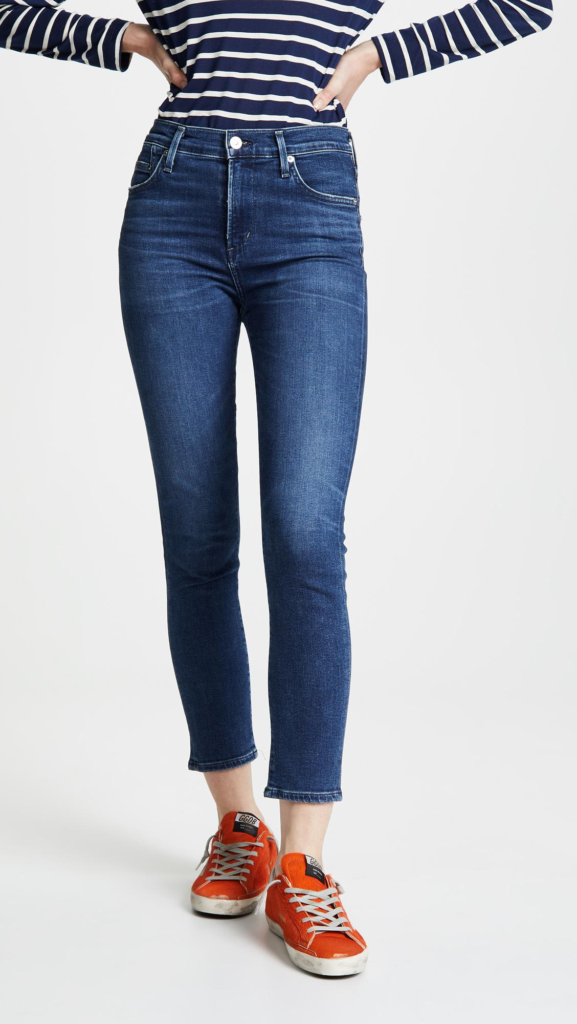 9e37984268653 Citizens Of Humanity Rocket Crop High Rise Skinny Jeans in Blue - Lyst