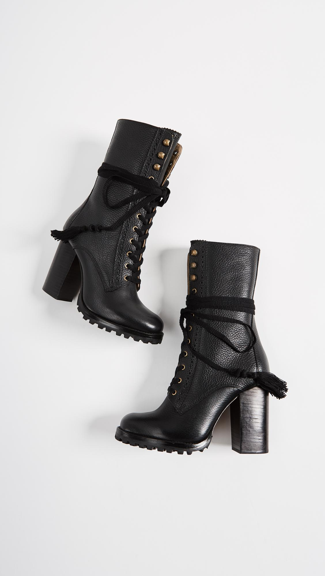 Ulla Johnson Leather Moira Booties in Black
