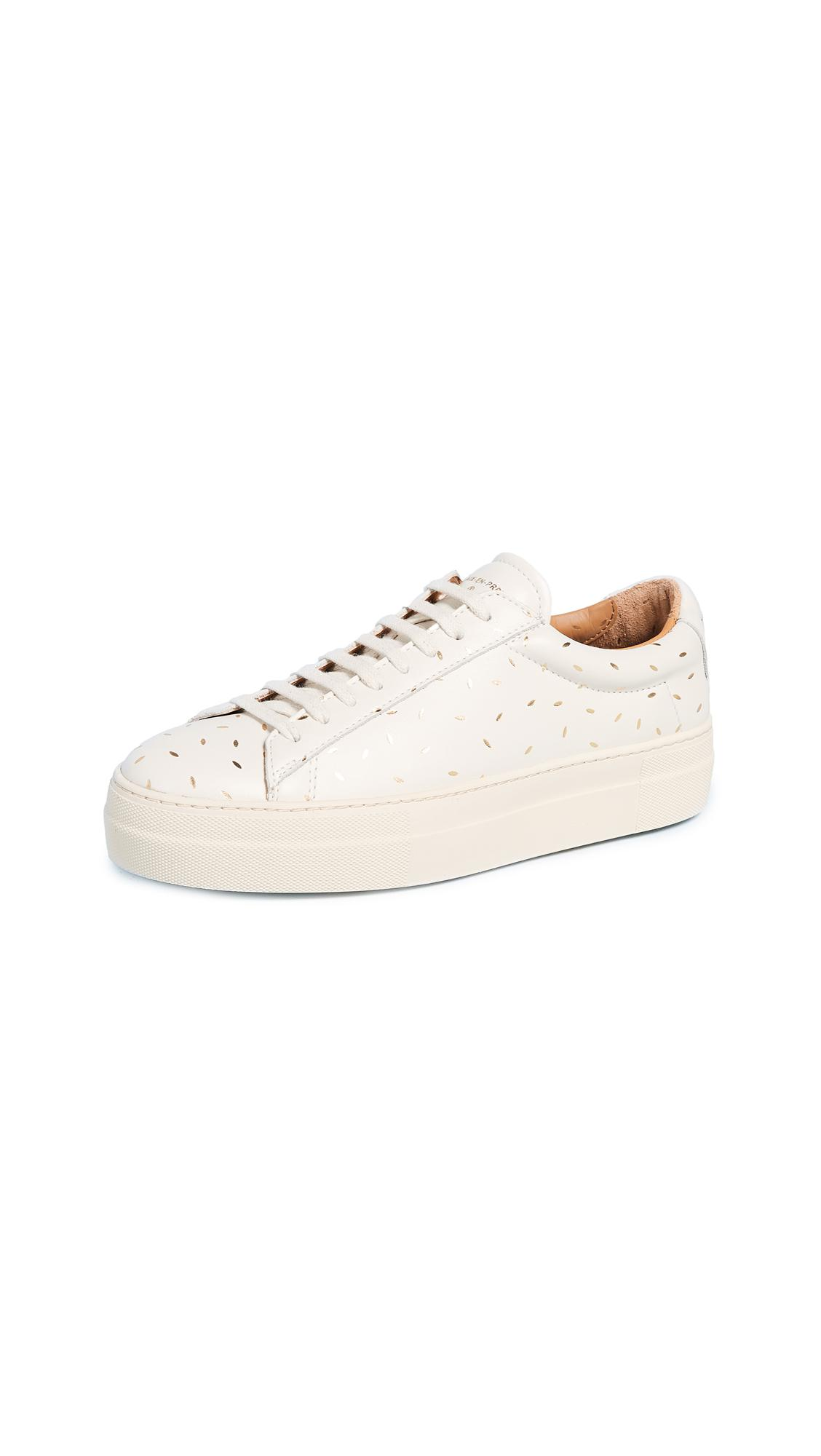 Zespà Leather Laceup Platform Sneakers in White