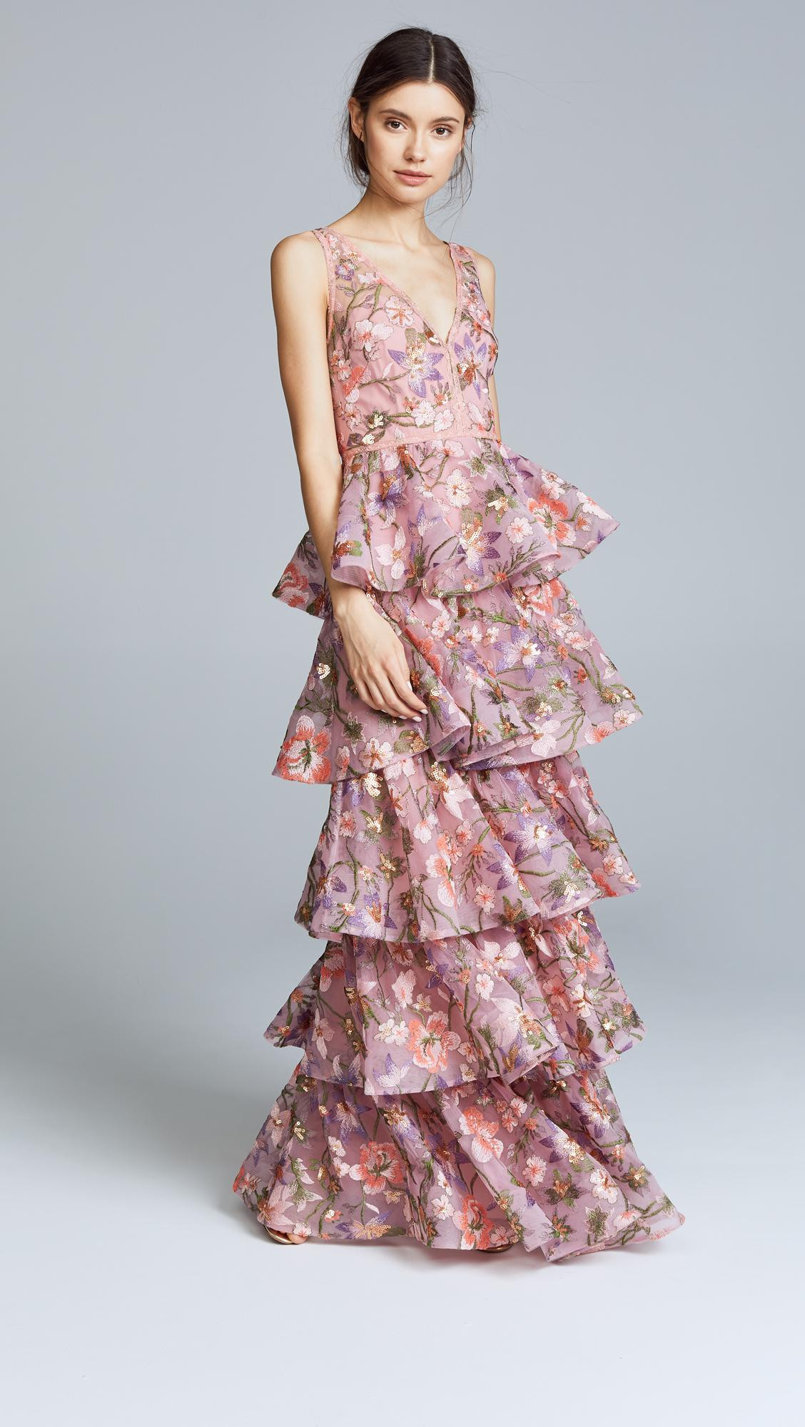 Marchesa Notte Tulle Multi Tiered Gown In Lilac Purple