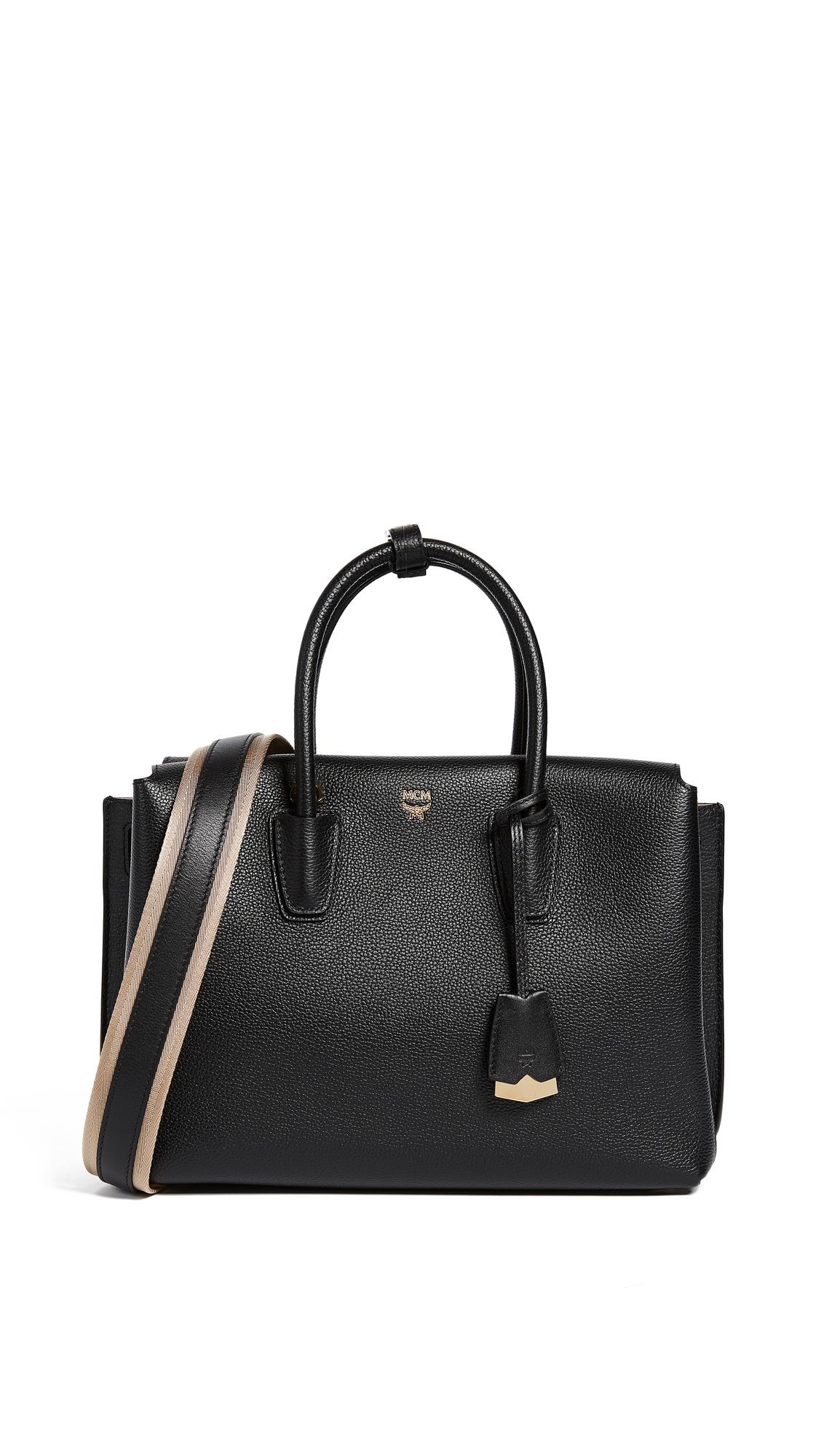 MCM Leather Milla Tote in Black