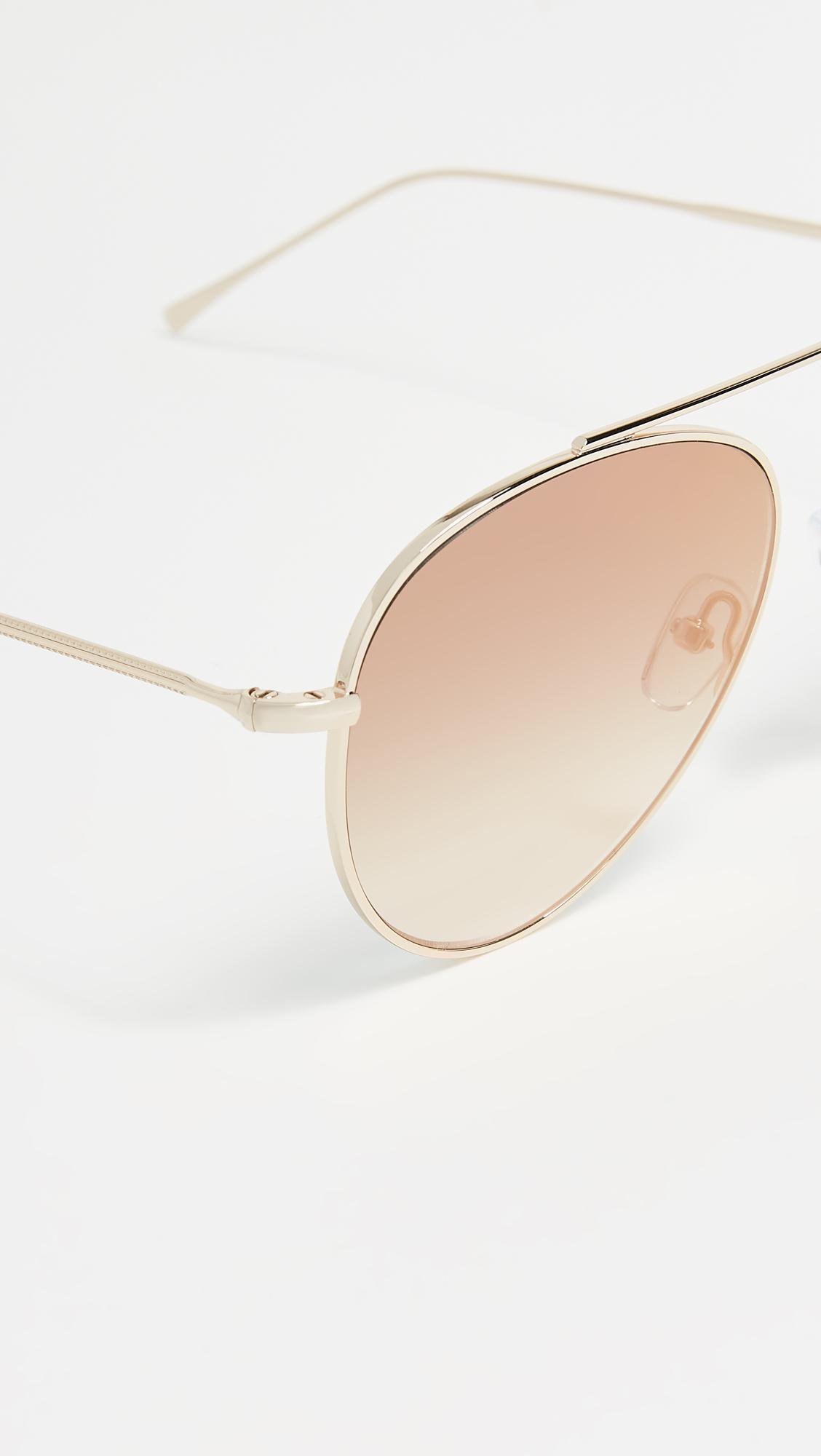 Illesteva Dorchester Gradient Mirrored Sunglasses in Gold/Gold (Metallic)