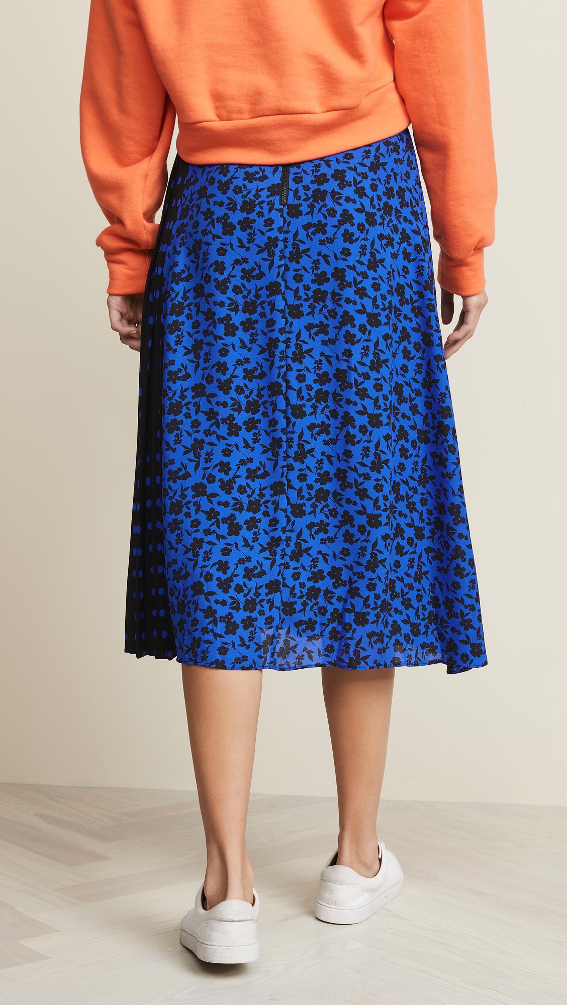 afa60e4a28 Lyst - Alice + Olivia Lilia Asymmetrical Pleated Midi Skirt in Blue