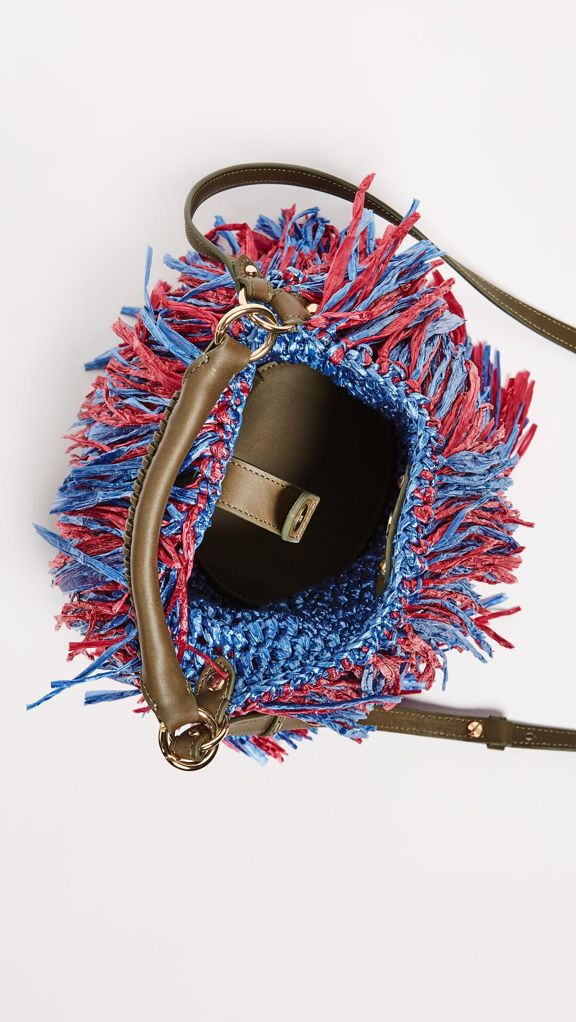 Diane von Furstenberg Leather Raffia Fringe Cross Body Bag