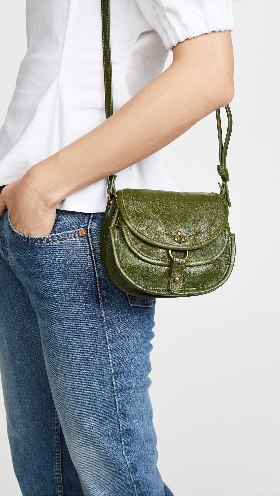 Jérôme Dreyfuss Leather Mini Felix Cross Body Bag in Green