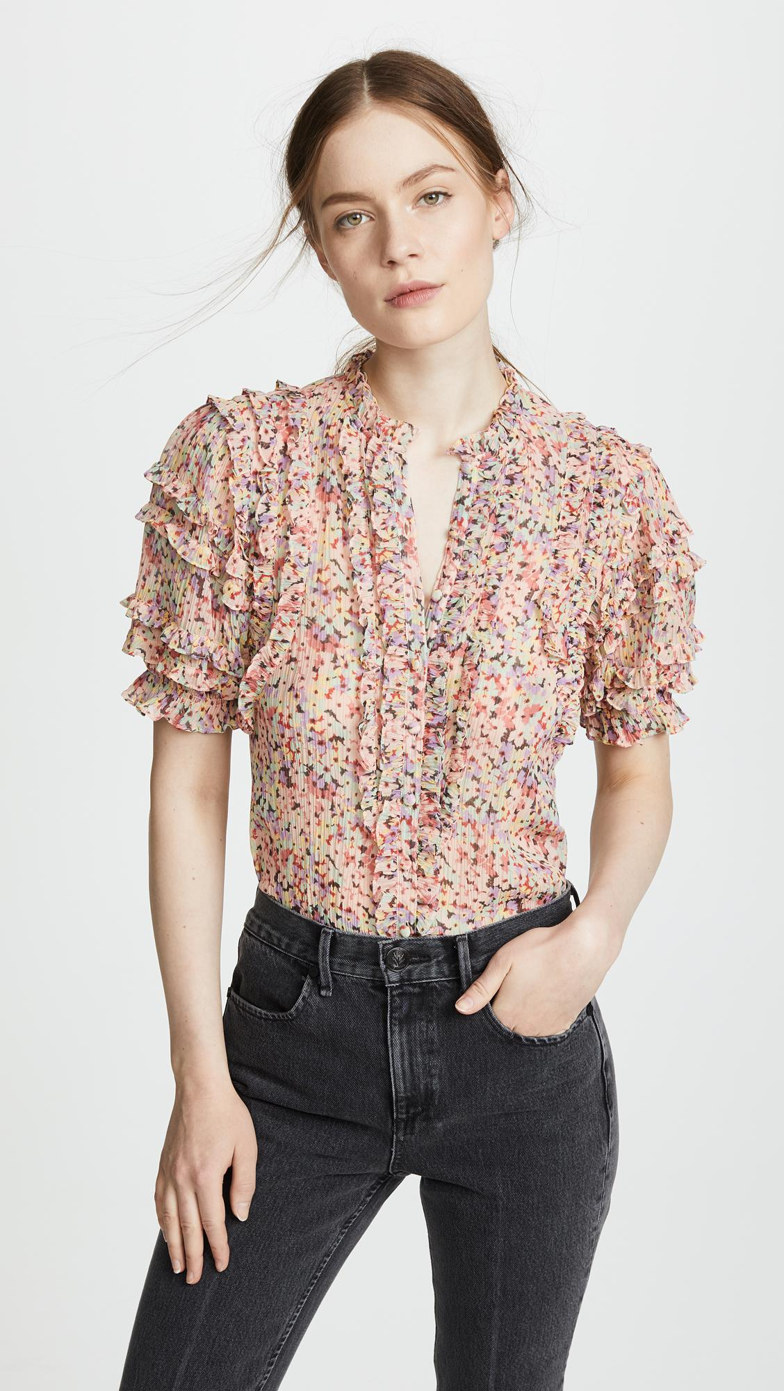 6d12fad20a8f26 Rebecca Taylor Short Sleeve Margo Floral Top - Lyst