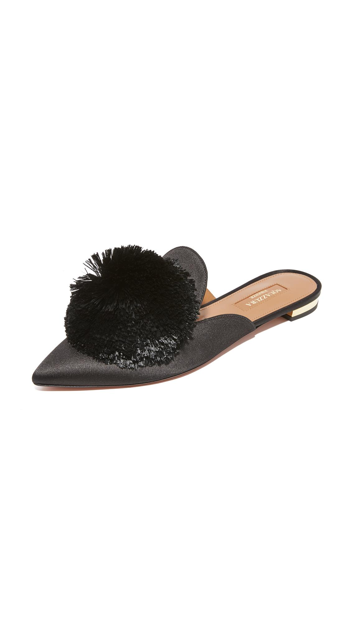 13c343aa49d Aquazzura Powder Puff Flats in Black - Lyst