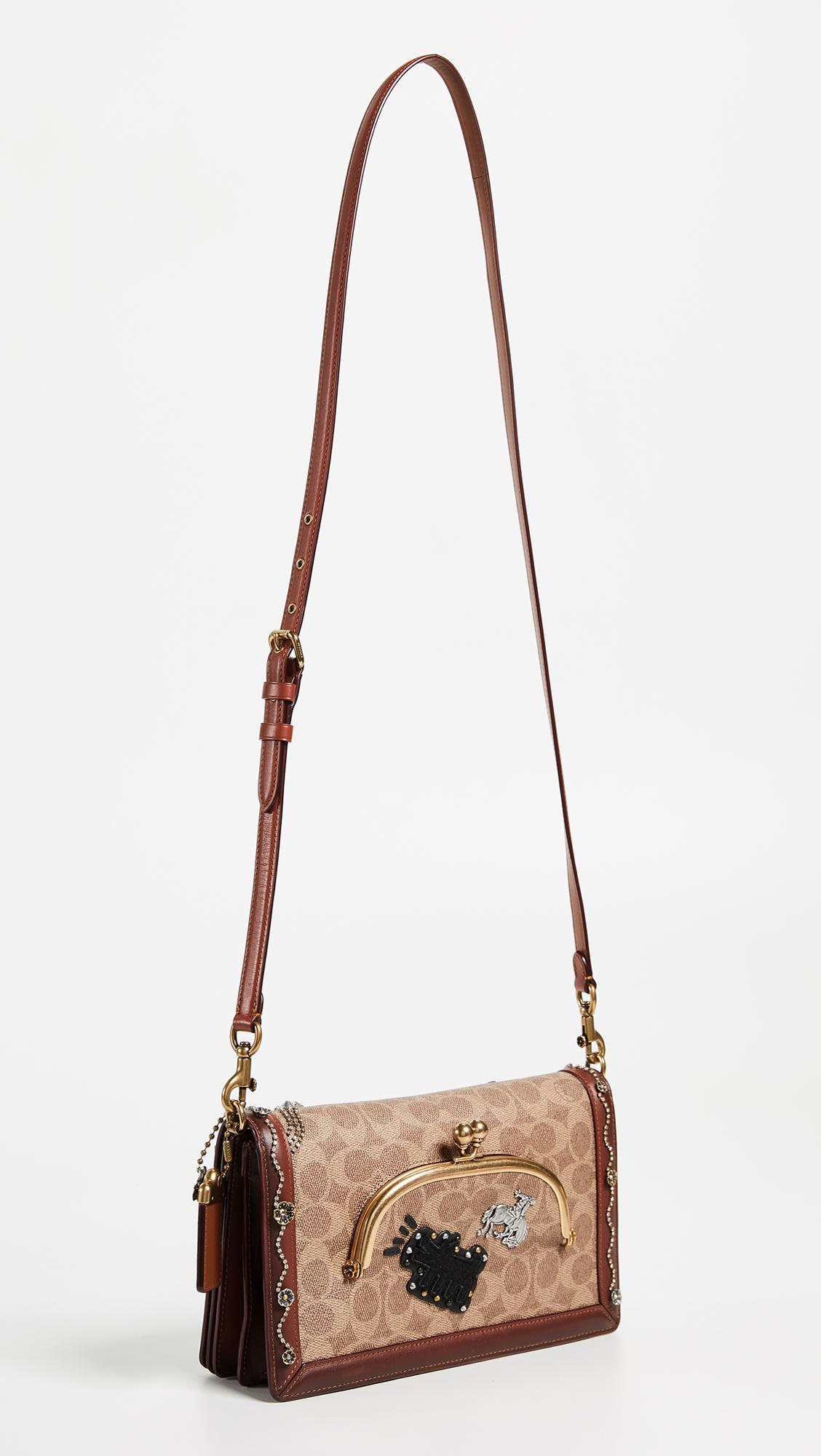 COACH Canvas Signature Embellished Cross Body Bag
