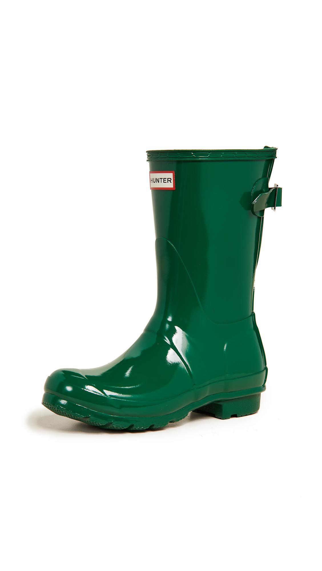 HUNTER Rubber Original Short Boots in Green