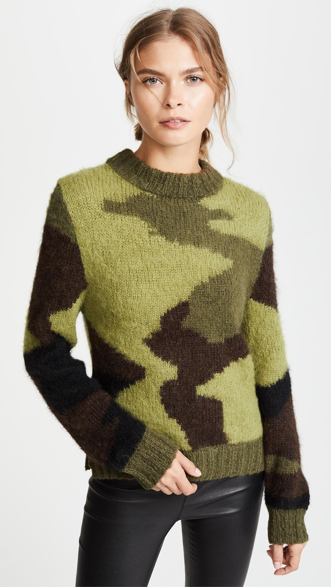 Smythe Hand Knit Camo Intarsia Sweater In Green Lyst