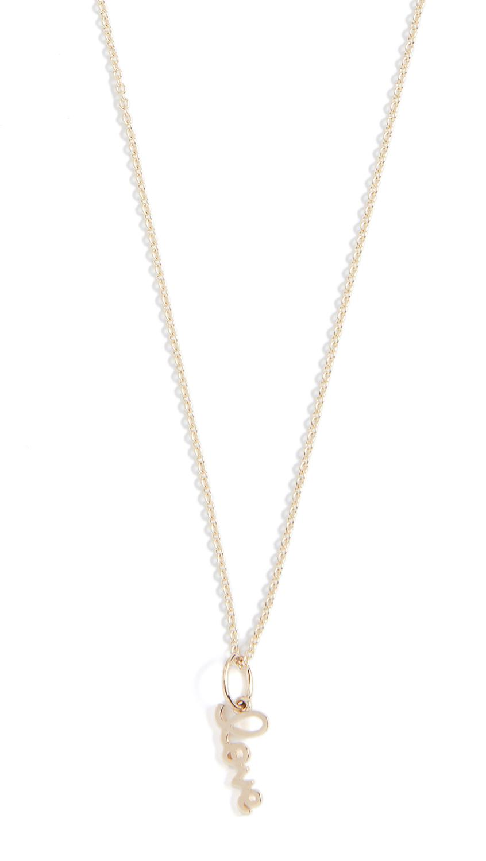 Sydney Evan Tiny Pure Love charm 14kt gold necklace ANktmNxgx