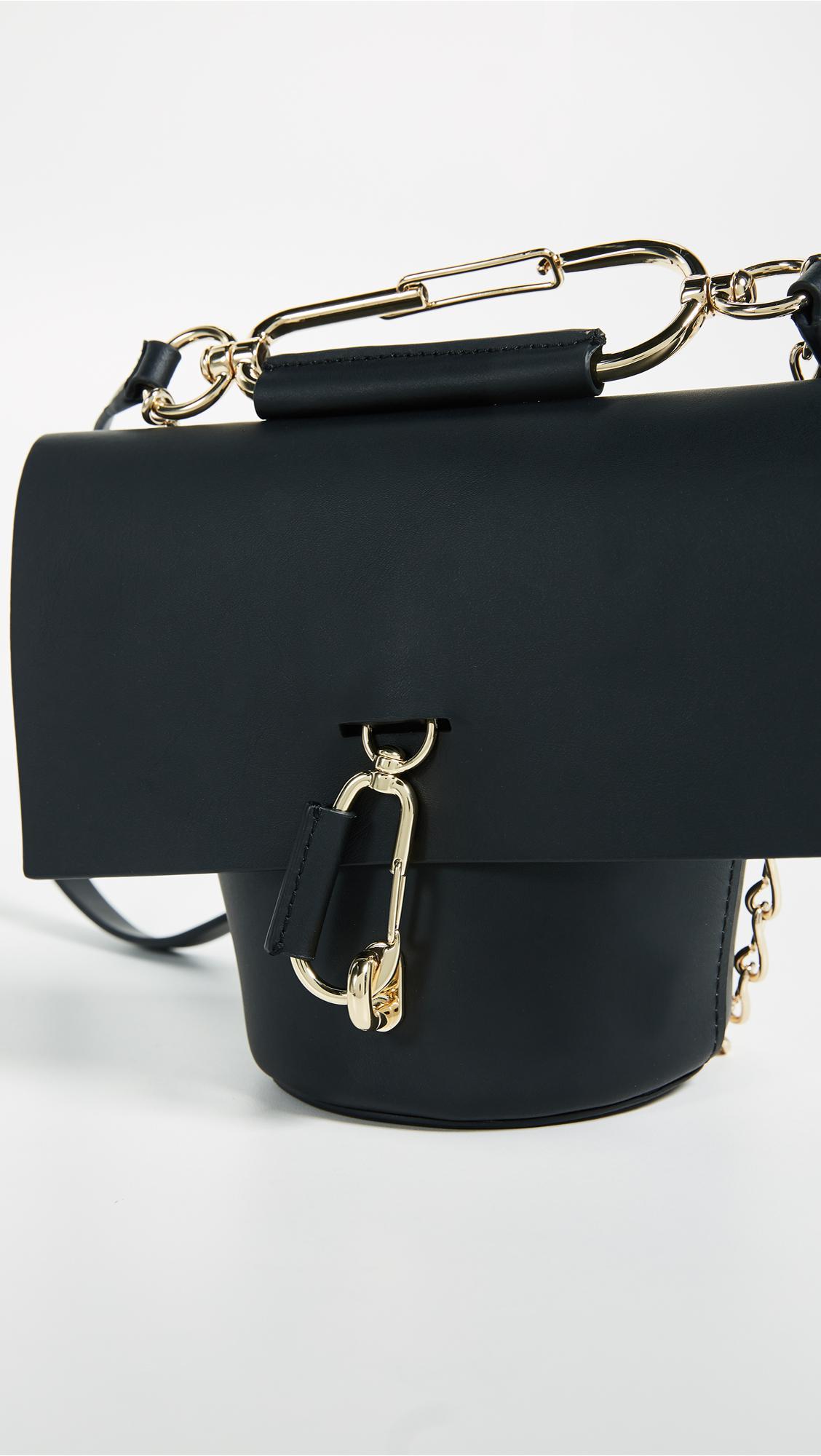 Zac Zac Posen Leather Belay Cross Body Bag With Chain in Black