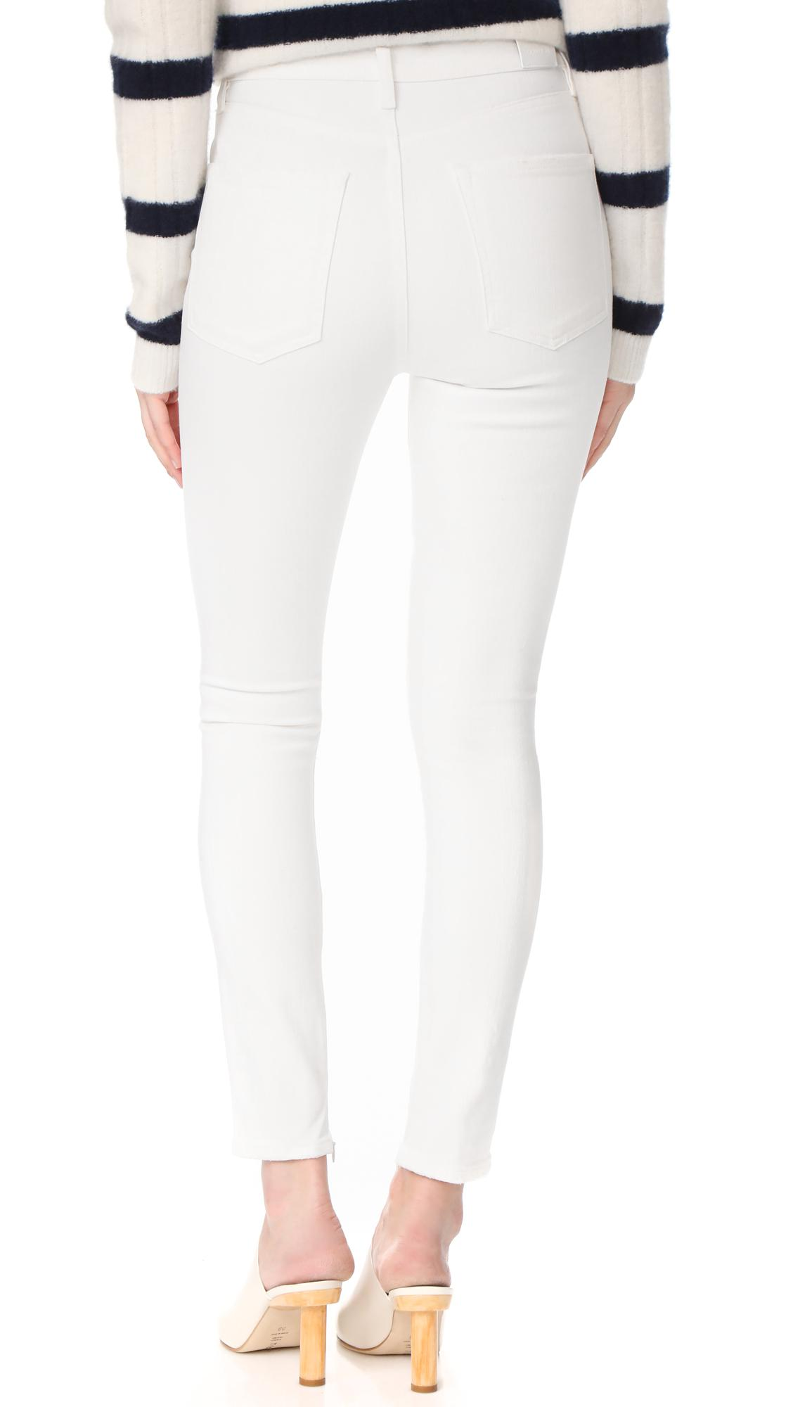 Goldsign Denim The Non Profit Ultra High Rise Ankle Zipper Jeans in Lace (White)